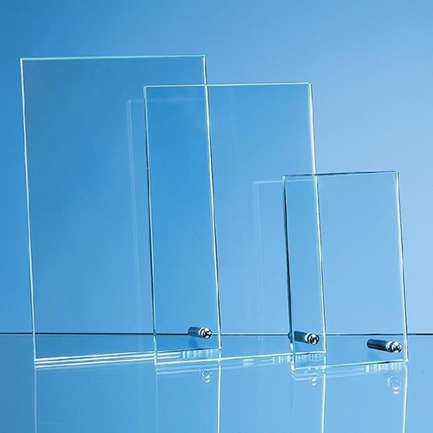 14cm x 8.5cm x 1cm Jade Glass Rectangle with Chrome Pin, H or V