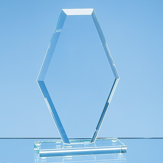 20cm x 12cm x 1cm Jade Glass Facet Clipped Diamond Award