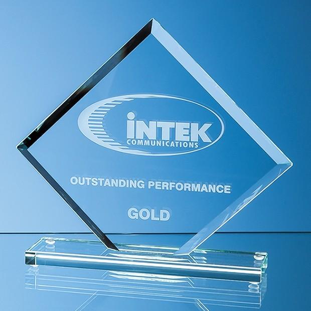 16.5cm x 20cm x 1cm Jade Glass Facet Clipped Square Award