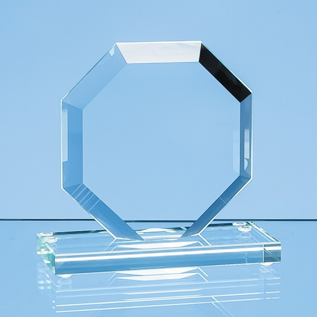 16cm x 17cm x 1cm Jade Glass Facet Octagon Award