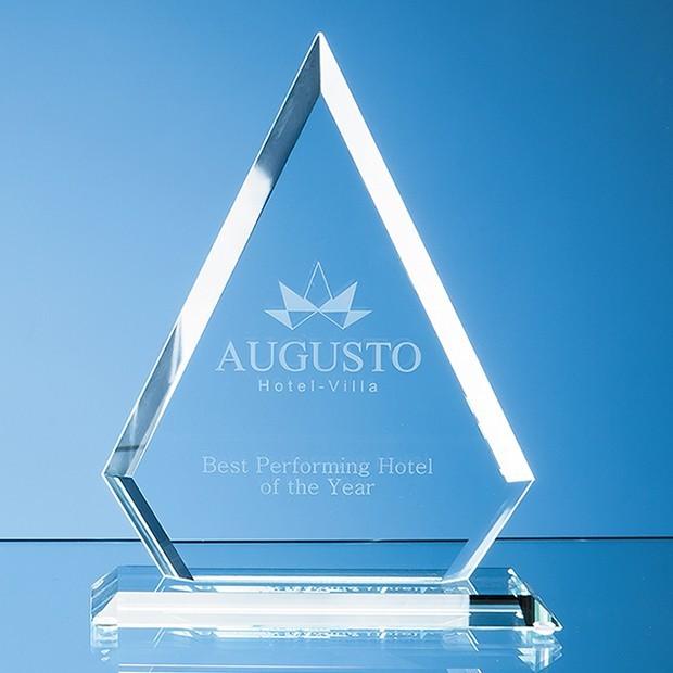 19cm x 15cm x 12mm Jade Glass Facet Diamond Award