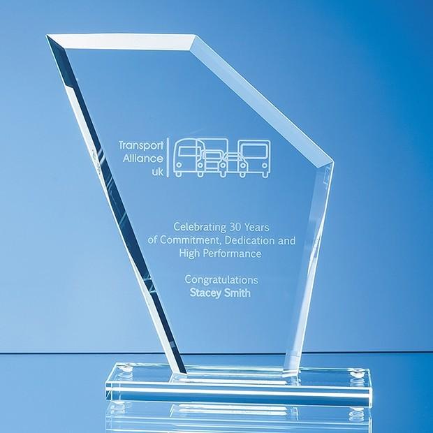 19.5cm x 16.5cm x 1cm Jade Glass Facet Wing Award
