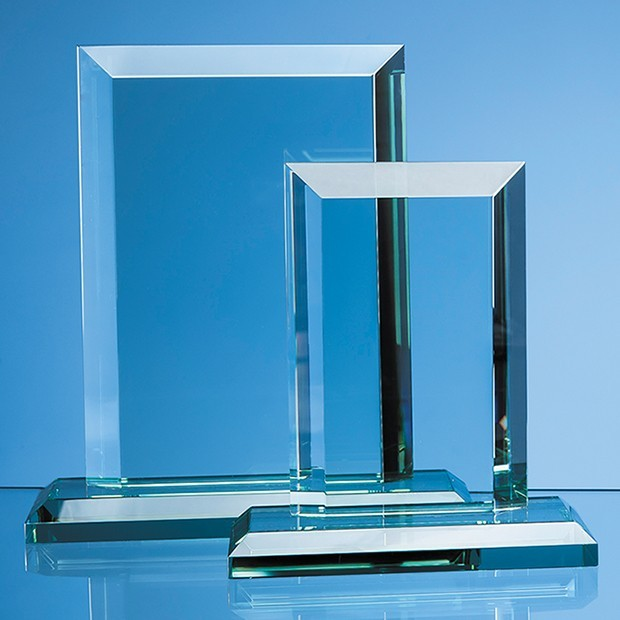15cm x 19mm Jade Glass Mitred Rectangle Award
