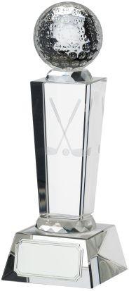 18.5cm Golf Glass Award With Ball