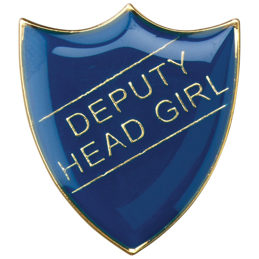 3cm School Shield Badge (Deputy Head Girl) - Blue 1.25In