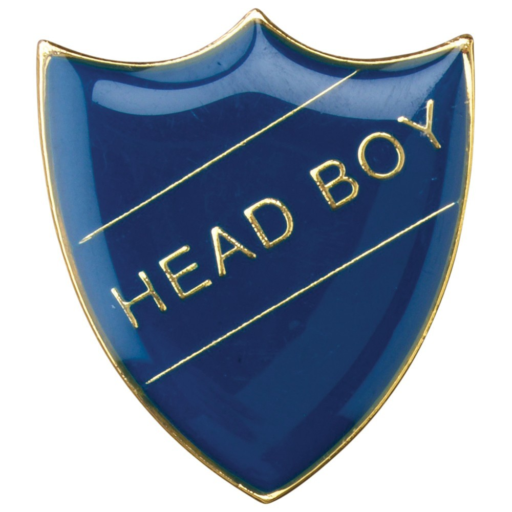 3cm School Shield Badge (Head Boy) - Blue 1.25In