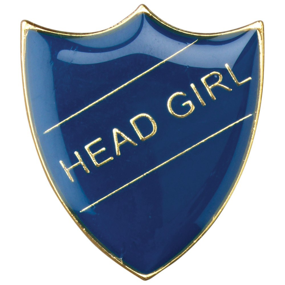 3cm School Shield Badge (Head Girl) - Blue 1.25In