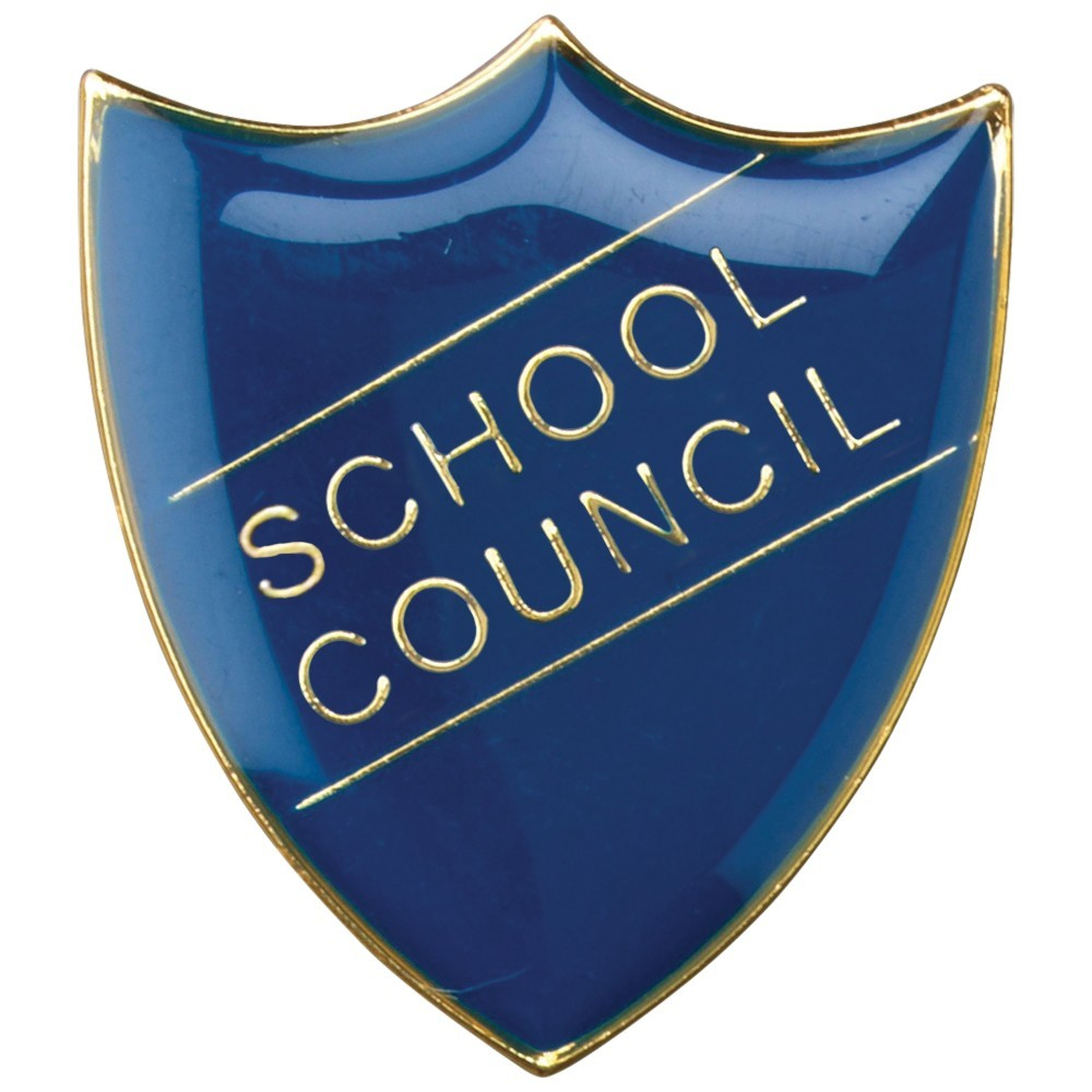 3cm School Shield Badge (School Council) - Blue 1.25In