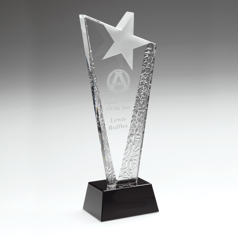 23.5cm Clear Glass Plaque With Frosted Star On Black Base