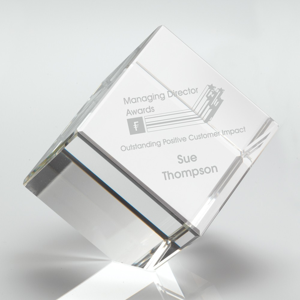 6.5cm Clear Glass Cube Paperweight In Box - 2.5In