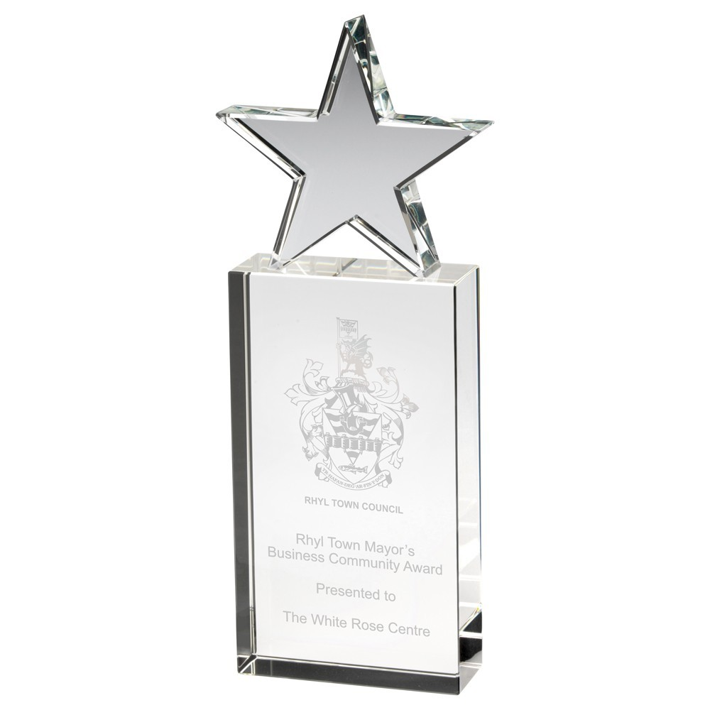 20.5cm Clear Glass Block With Glass Star