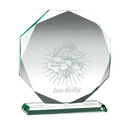 17cm Jade Glass Octagon Plaque (15mm Thick)