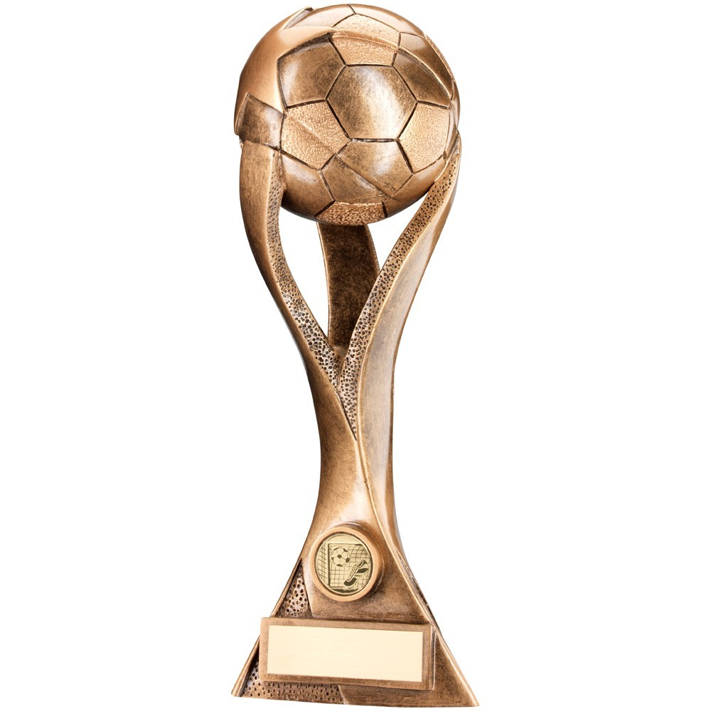 Bronze And Gold Football On 3 Pronged Riser Trophy