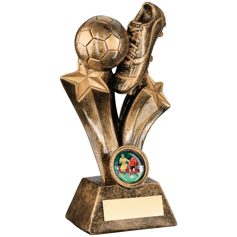 Bronze And Gold Resin Football Boot Trophy