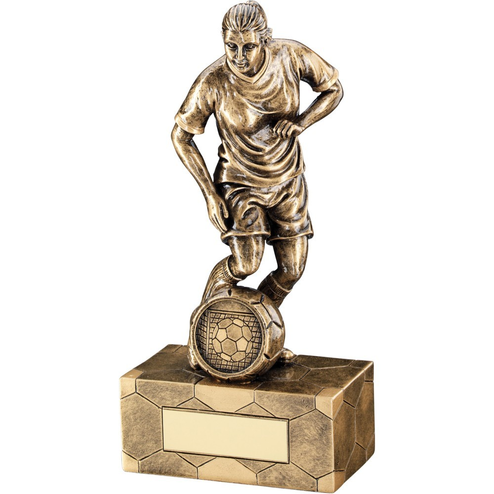 Bronze And Gold Female Football Figure Trophy