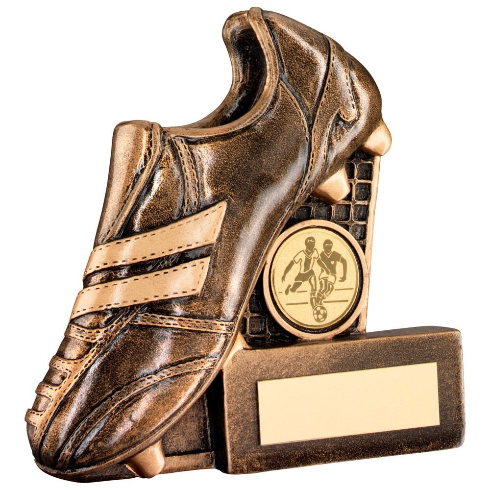 Bronze And Gold Resin Football Boot With Net Flatback Trophy