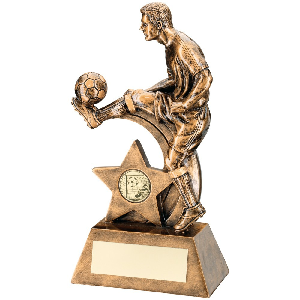 Bronze And Gold Male Football Figure Trophy