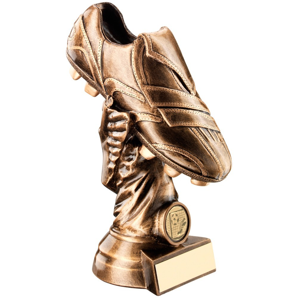 Bronze And Gold Football Boot  With  Figurine Trophy