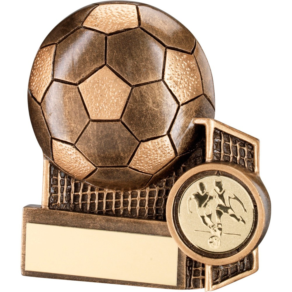 Bronze And Gold Football  With  Net Flatback Trophy