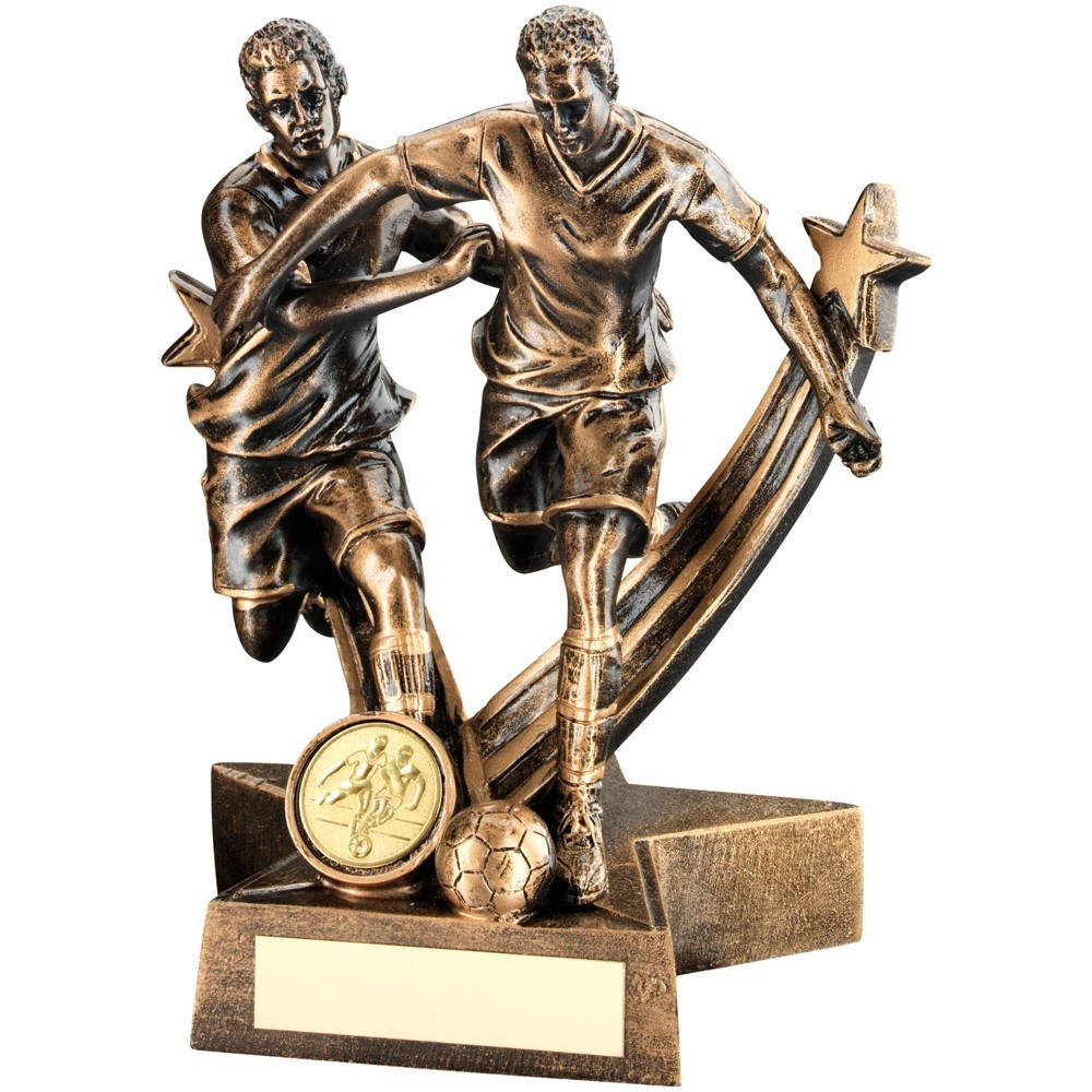 Bronze And Gold Resin Male Football 'Star Action' Double Figure Trophy