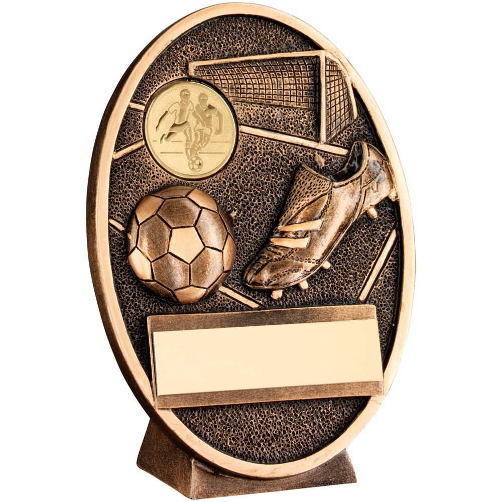 Wonderful Bronze and Gold Football, Boot and Goal Plaque - Available in 3 Sizes