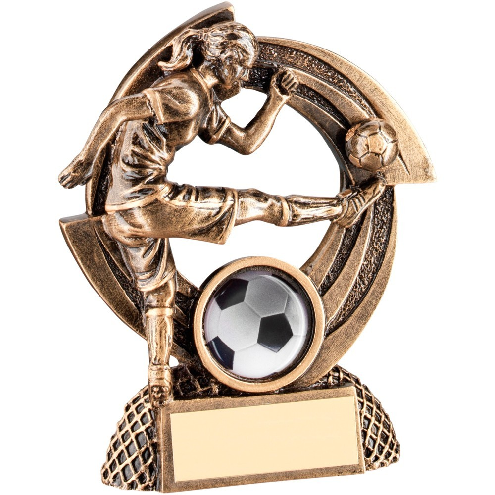 Bronze And Gold Flatback Female Football 'Quartz' Figure Trophy