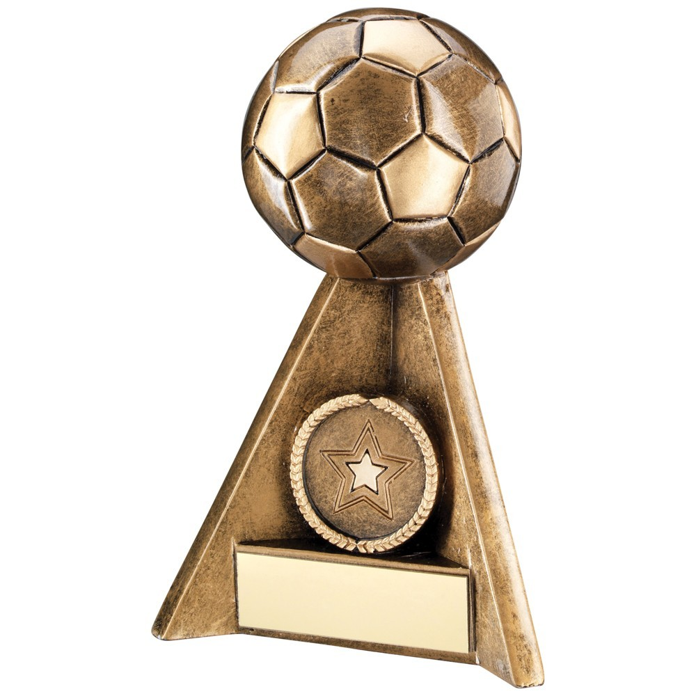 13cm Bronze & Gold Football Pyramid Trophy - 5In