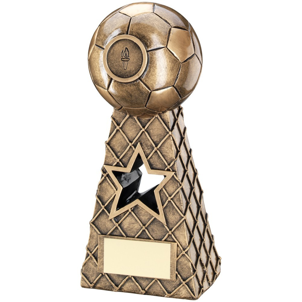 Bronze And Gold Football Net Pyramid Trophy
