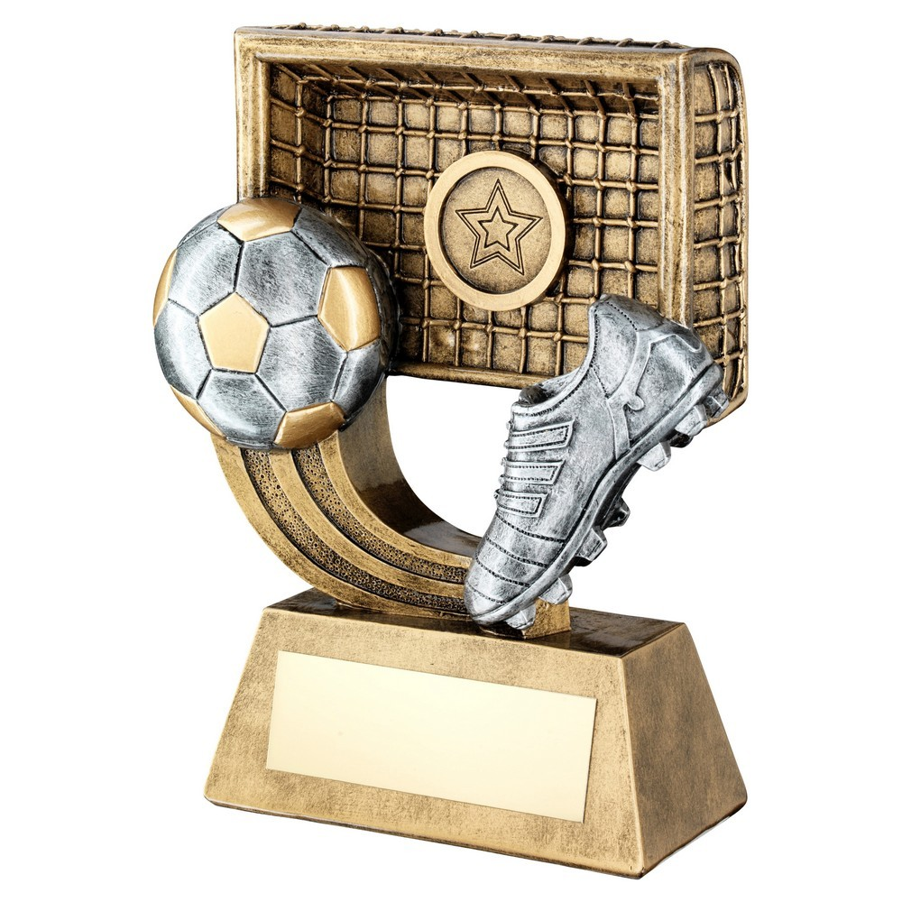 Brz/Gold/Pew Football On Swoosh With Boot/Net Trophy - 3 Sizes
