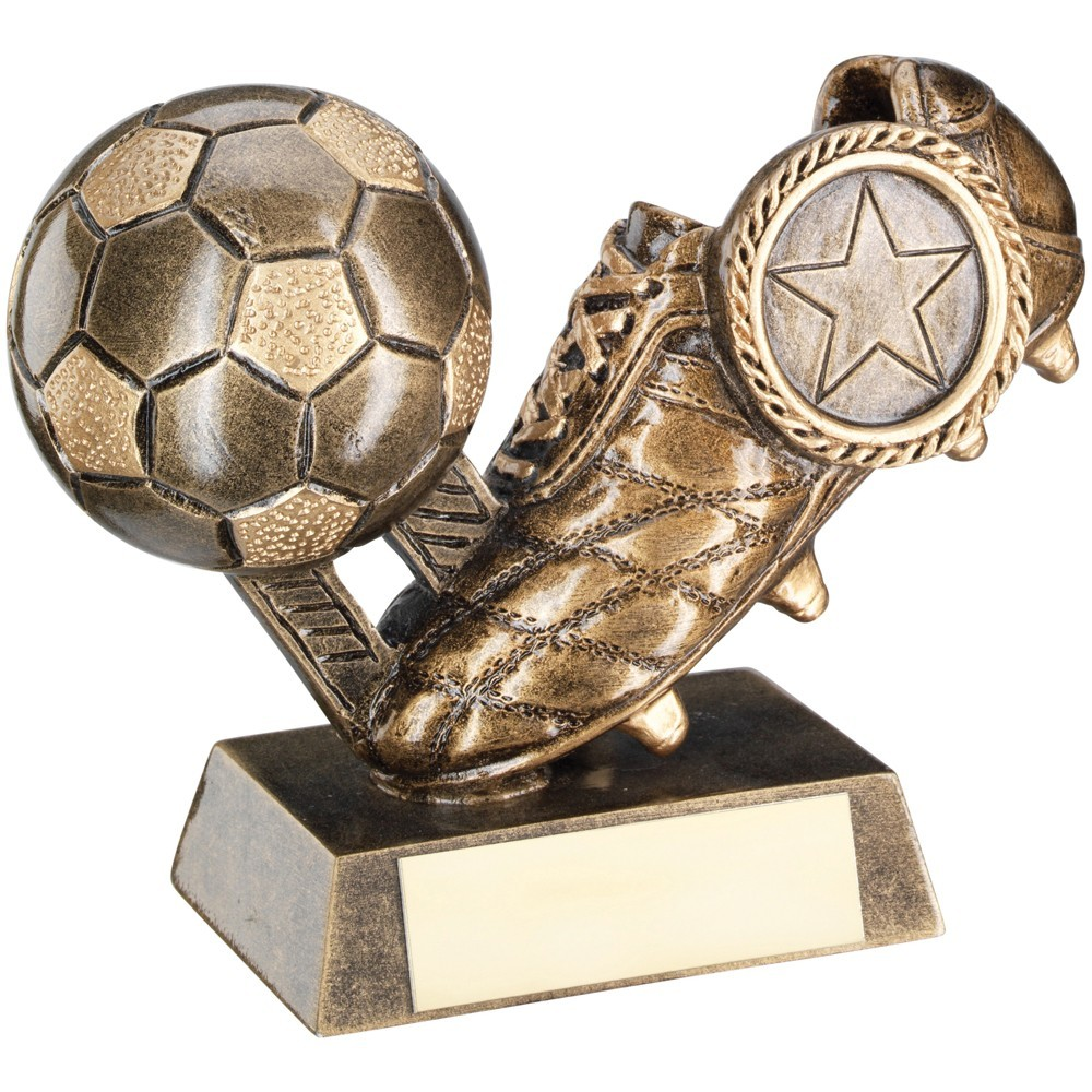 Bronze And Gold Football  With  Boot Trophy