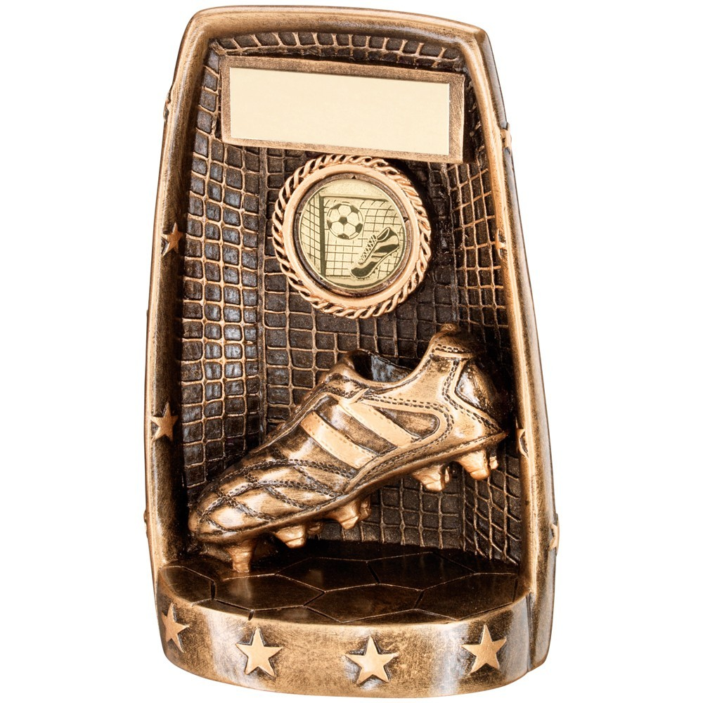 Bronze And Gold Football Boot  With  Net Trophy