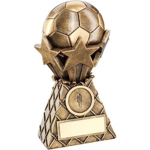 12.5cm Brz/Gold Football And Stars Net Burst Trophy