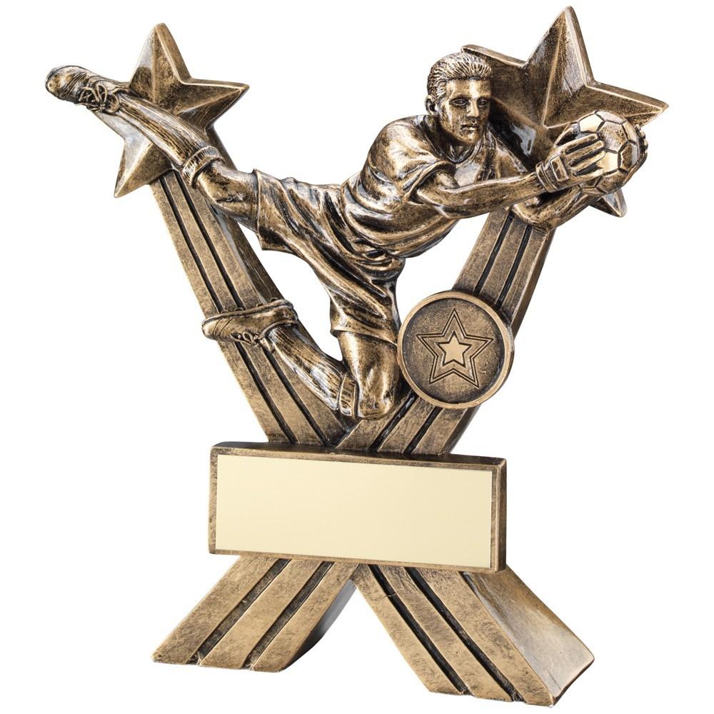 18cm Bronze & Gold Goalkeeper Figure On Crossed Stars Trophy