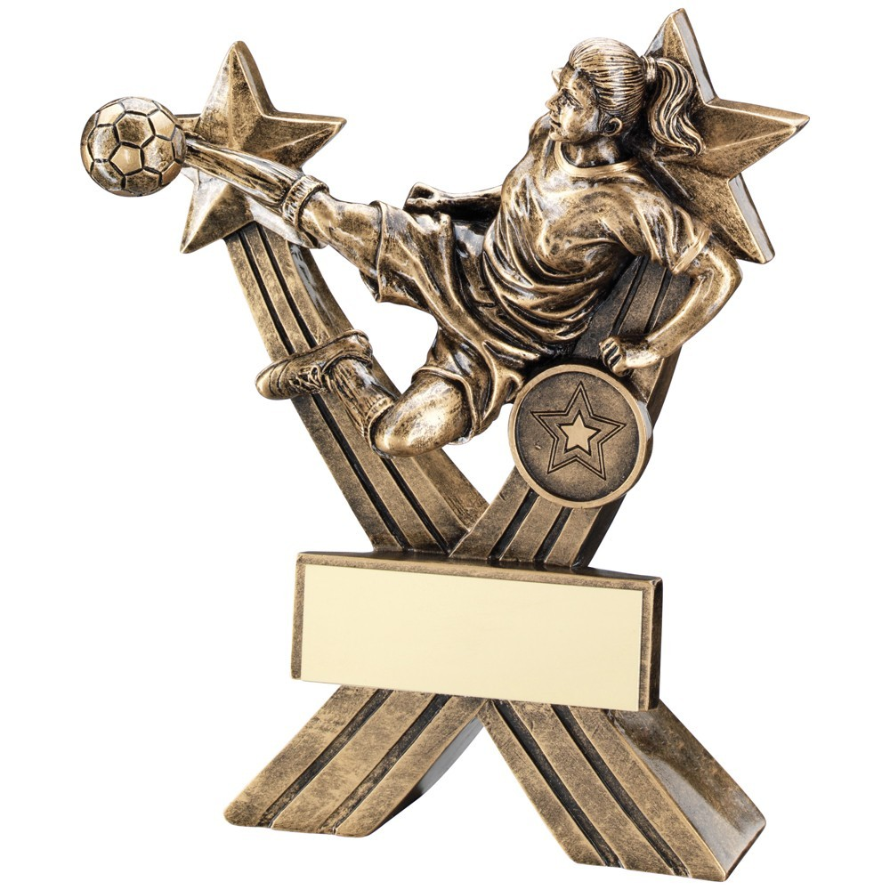 Bronze And Gold Female Football Figure On Crossed Stars Trophy