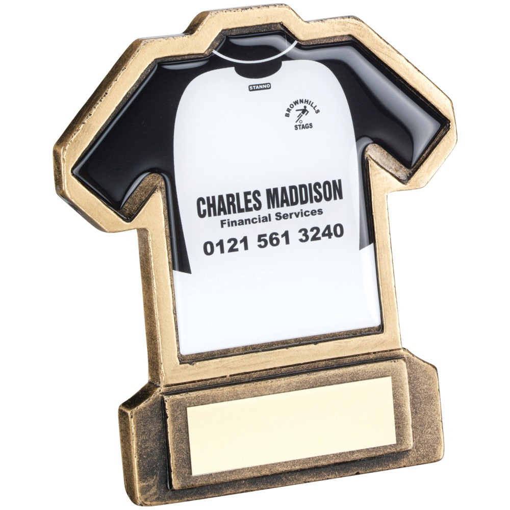 11.5cm Bronze & Gold Resin Football Shirt Trophy - (Shirt C) 4.5In