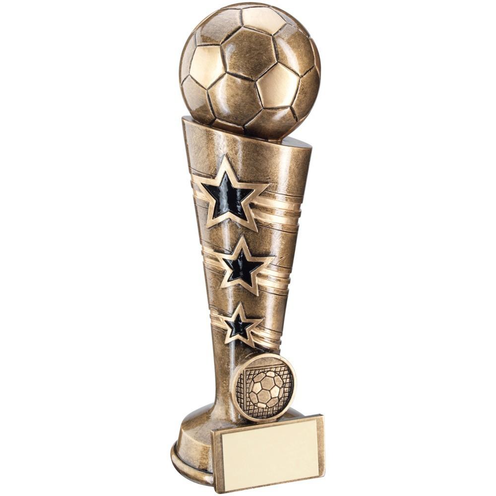 Bronze And Gold 3 Star Football Column Trophy