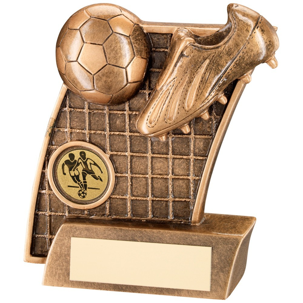 Bronze And Gold Football Boot  With  Ball On Net Backdrop Trophy