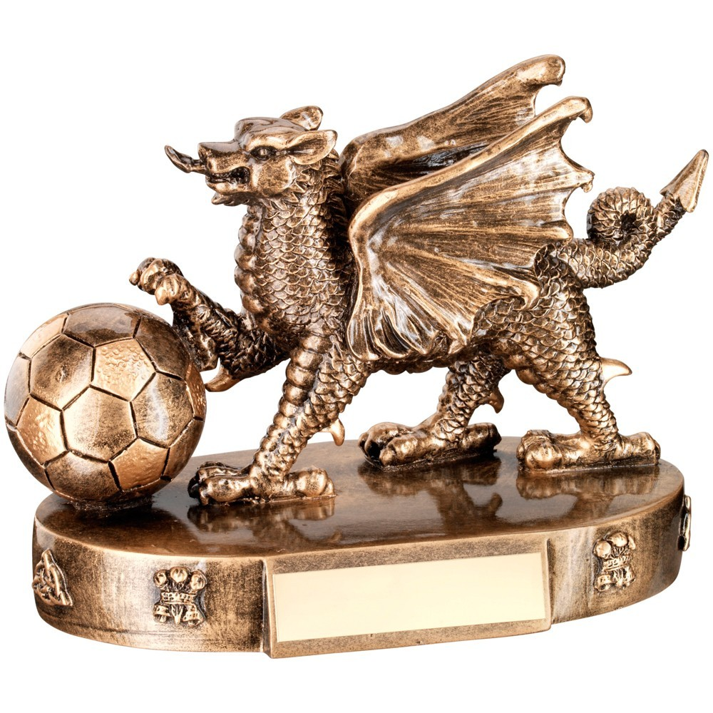 Bronze And Gold Welsh Dragon With Football Trophy