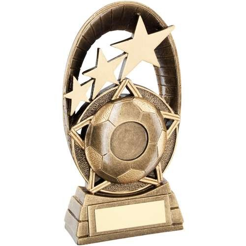 Brz/Gold Football Tri-Star Oval Plaque Trophy - Available in 3 Sizes