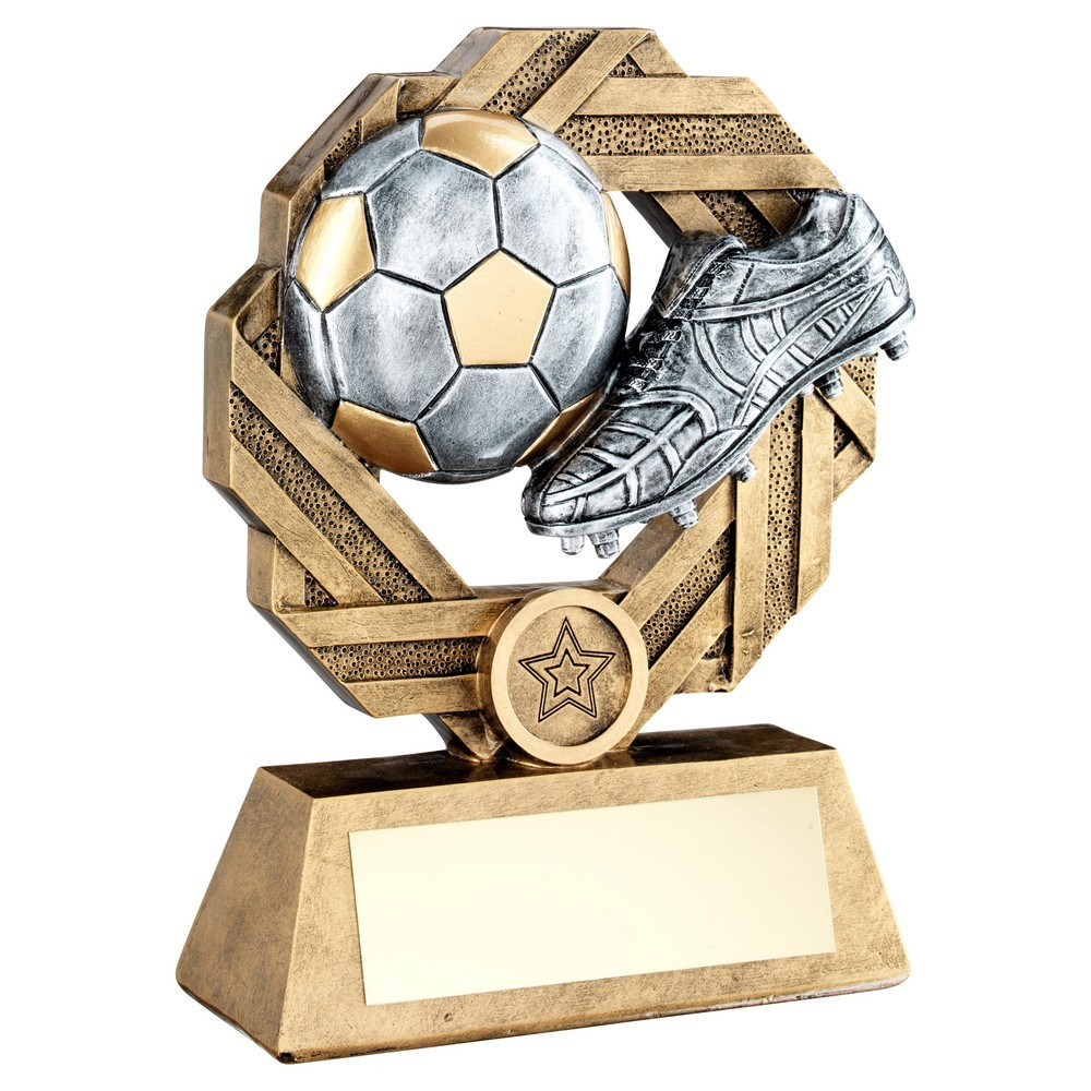 Brz/Pew/Gold Football Octo-Ribbon Series Trophy - 3 Sizes