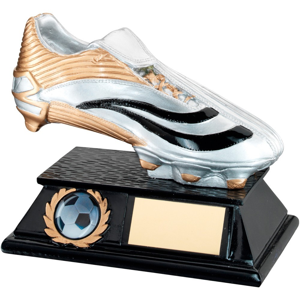 Silver, Gold And Black Resin Football Boot Trophy