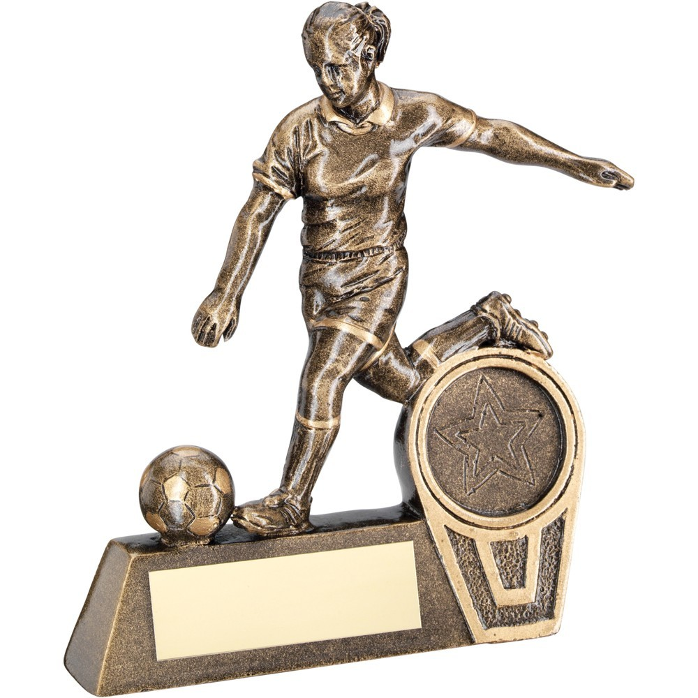 10.5cm Bronze & Gold Mini Female Football Figure Trophy