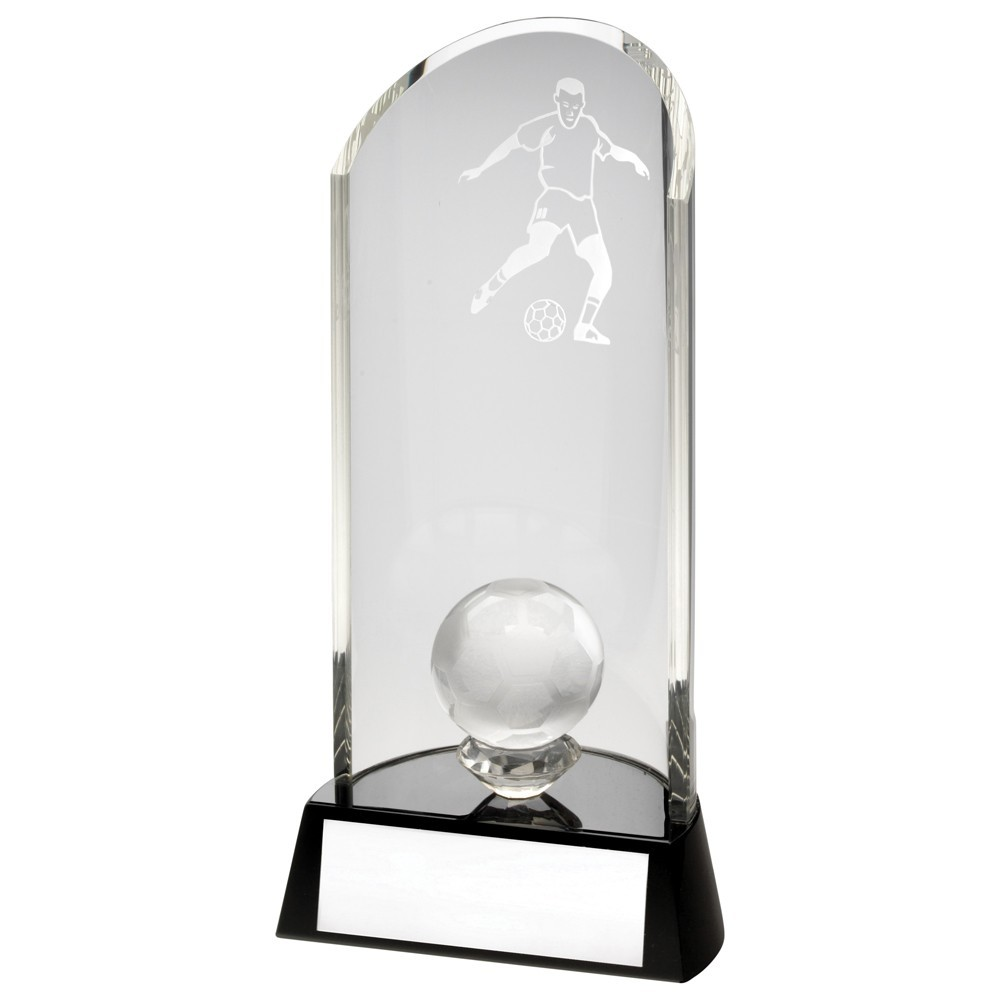 19cm Clear Glass Football Lasered Curve Column+Ball On Black Base Trophy - 7.5In