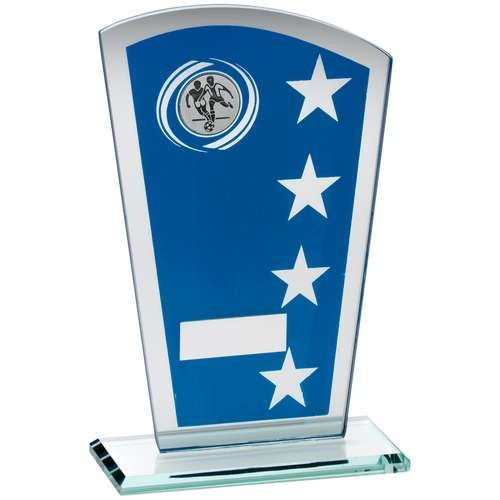 Blue/Silver Printed Glass Shield With Football Insert Trophy - Available in 3 Sizes
