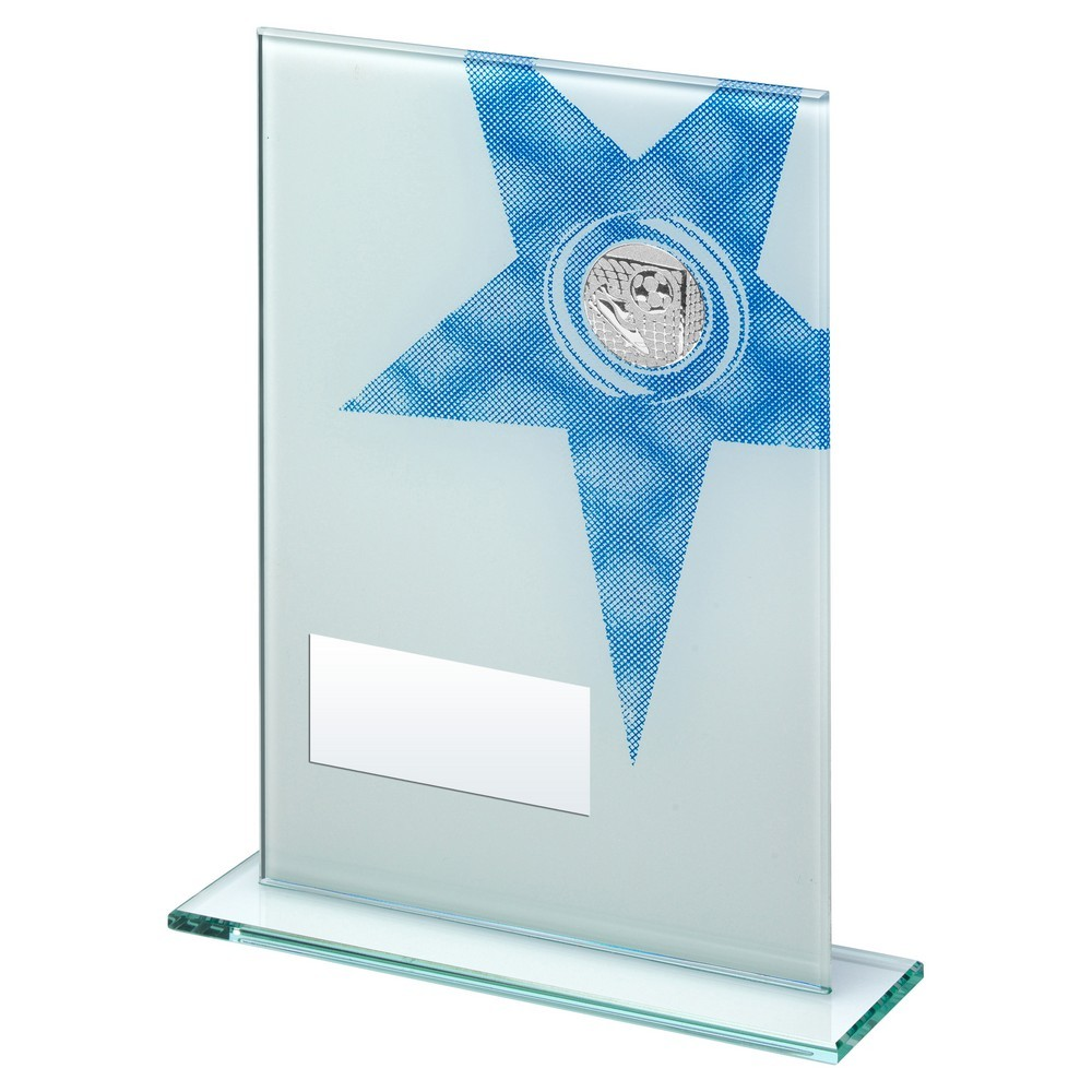White/Blue Printed Glass Rectangle With Football insert Trophy - 3 Sizes