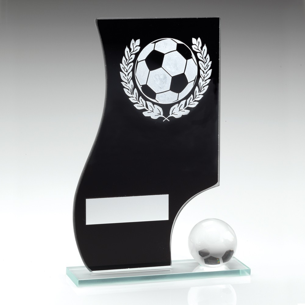 Black And Silver Glass Football Plaque With Ball Trophy