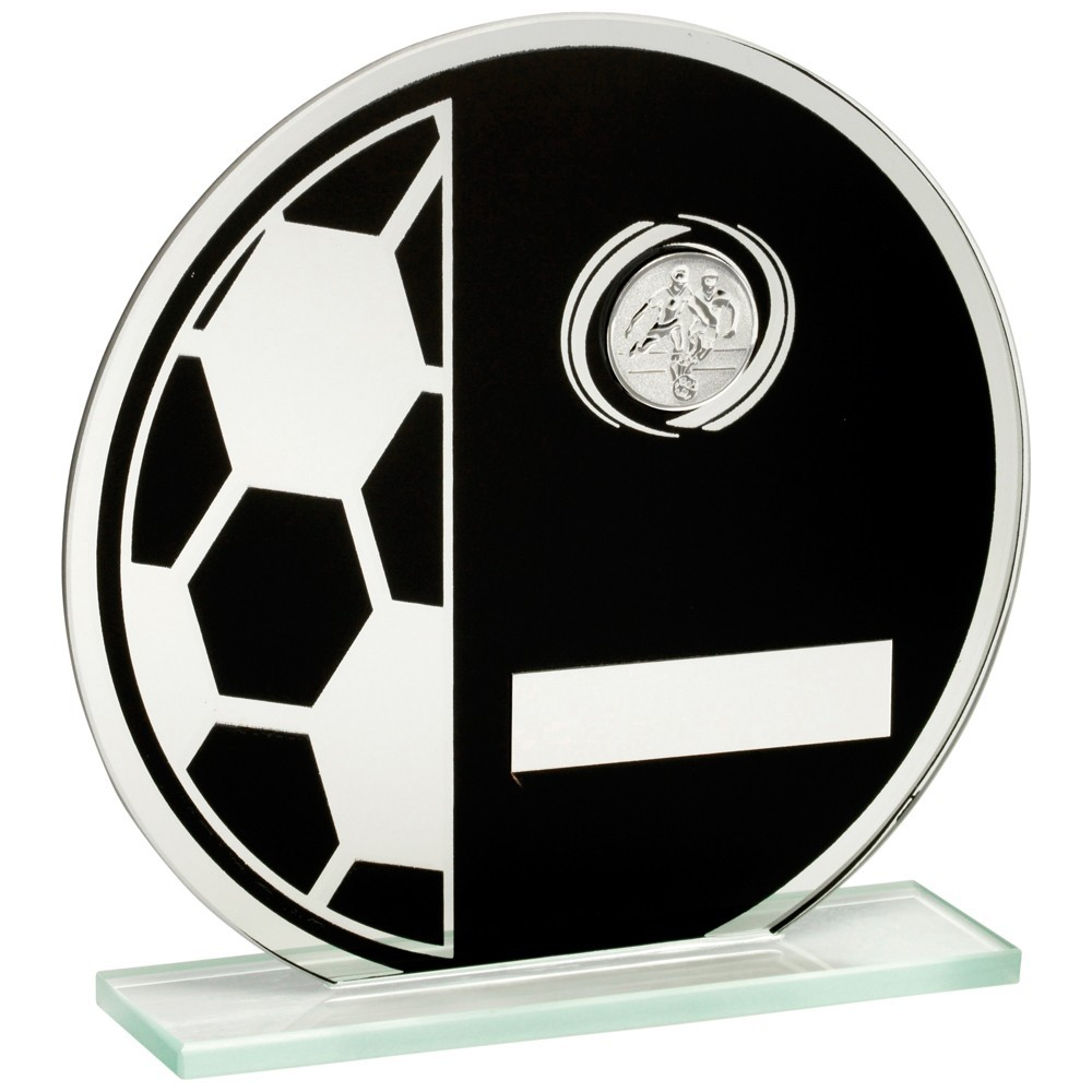 13.5cm Jade Glass Round Plaque (Black & Silv) With Football+Centre Holder Trophy