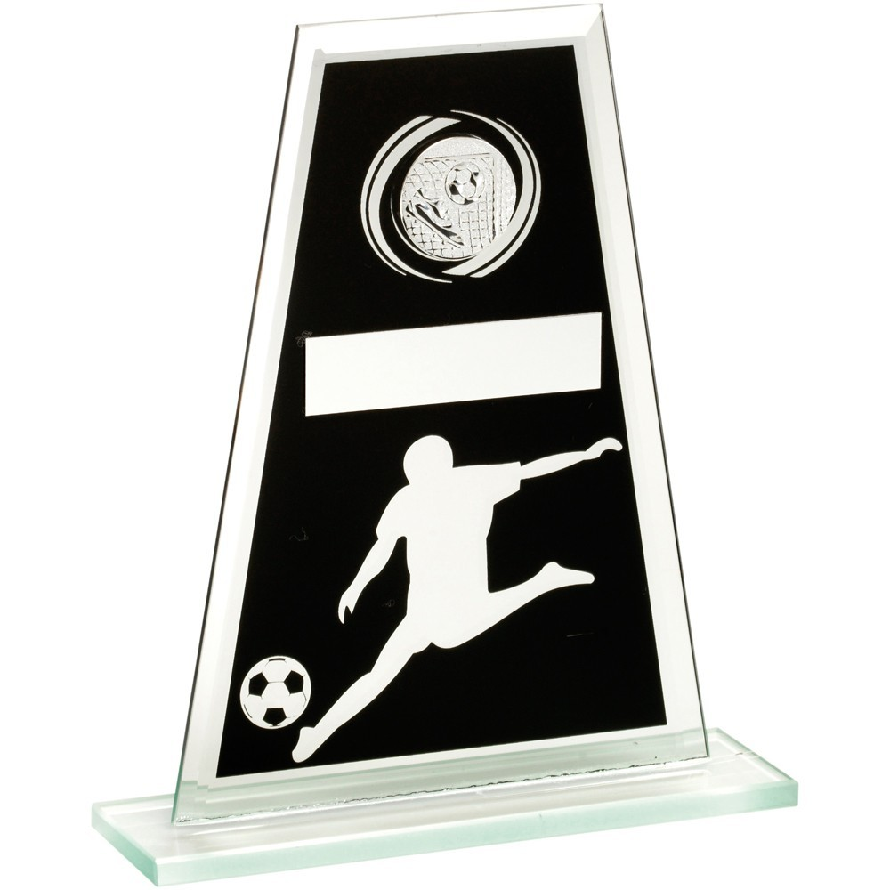 Jade Glass Plaque (Black And Silver) With Football Player With Centre Holder Trophy