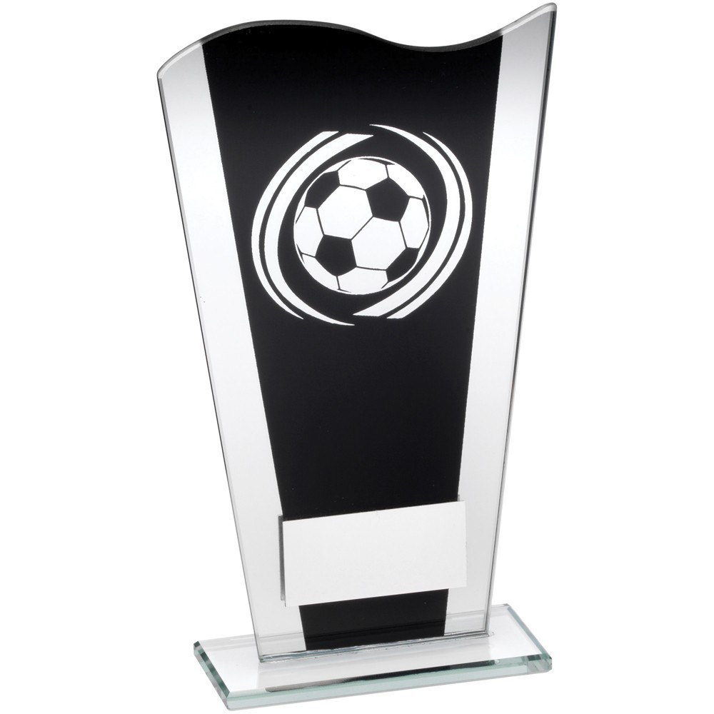 Black And Silver Printed Glass Plaque With Silver Football Swirl Trophy