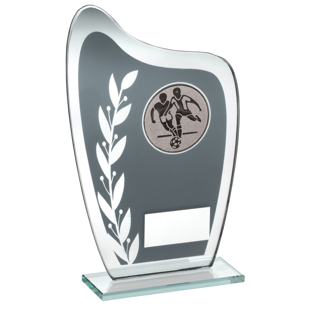 Grey/Silver Glass Plaque With Football insert Trophy - 6.5 inch